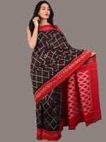 Red Black Ivory Ikat Handwoven Pochampally Cotton Saree - S031701072