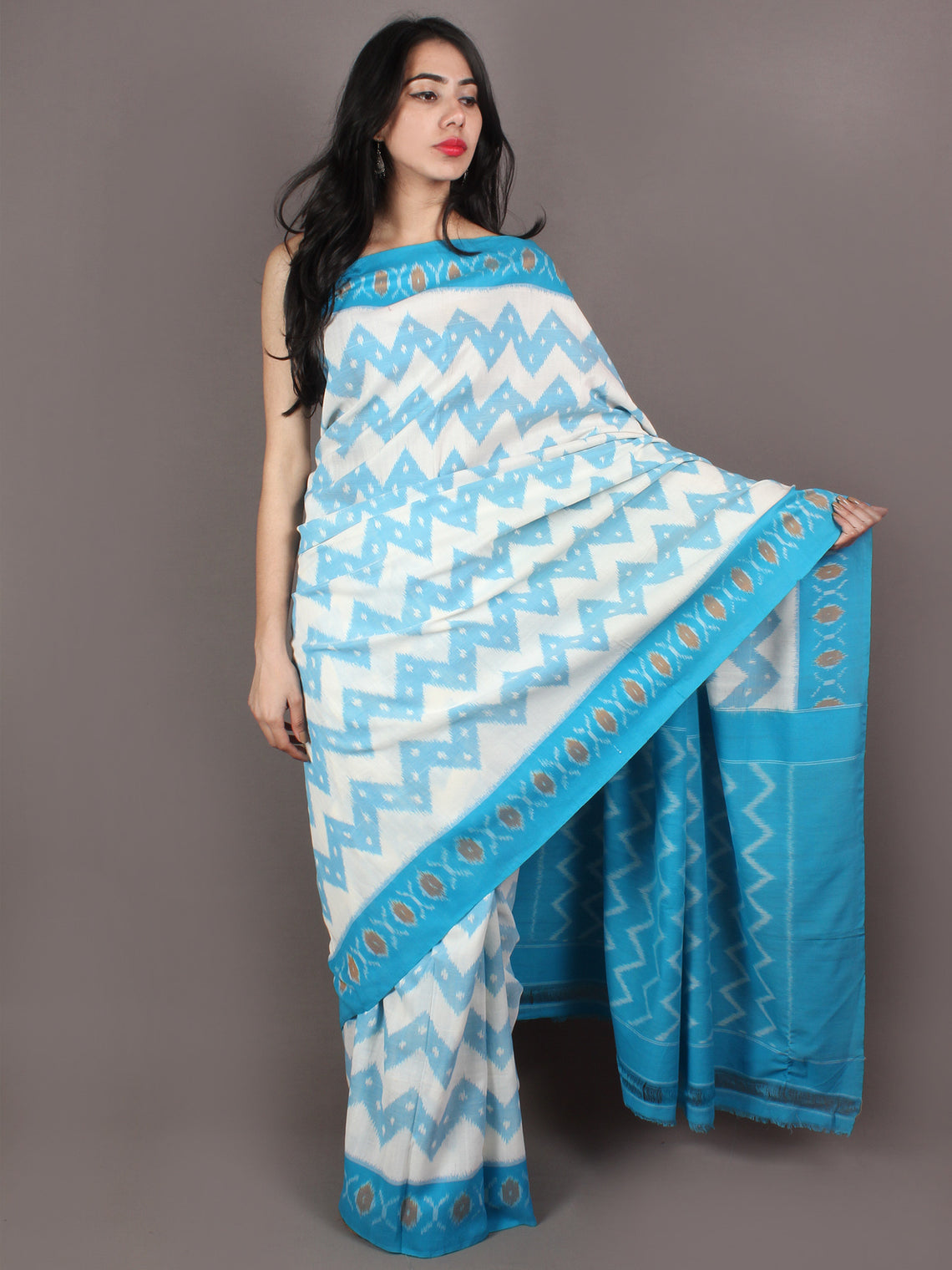 Azure Ivory Yellow Ikat Handwoven Pochampally Cotton Saree - S031701073