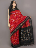Red Black Ivory Yellow Ikat Handwoven Pochampally Cotton Saree - S031701075