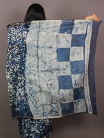 Indigo Ivory Blue Hand Block Printed in Natural Colors Chanderi Saree - S031701079