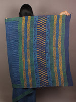 Blue Green Yellow Hand Block Printed in Natural Colors Cotton Mul Saree - S031701085