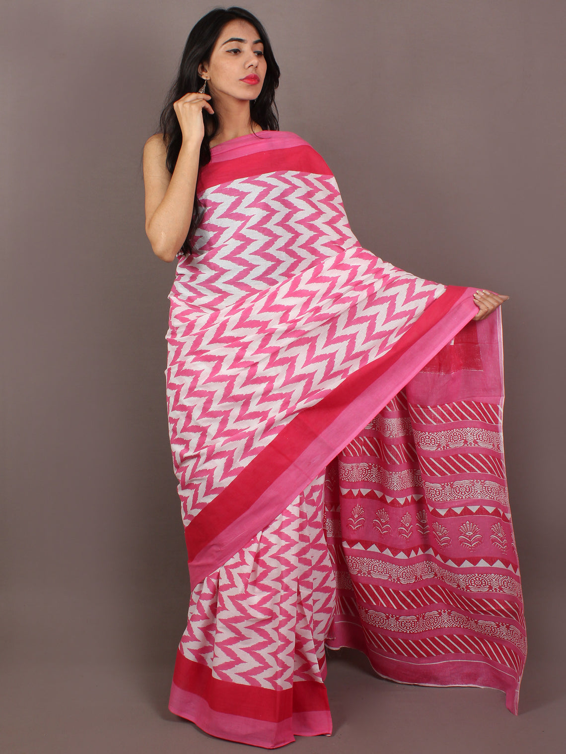 Pink Ivory Red Hand Block Printed in Natural Colors Cotton Mul Saree - S031701087