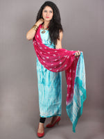 White Sky Blue Hand Shibori Dyed Cotton Suit-Salwar Fabric With Chiffon Dupatta - S1628109