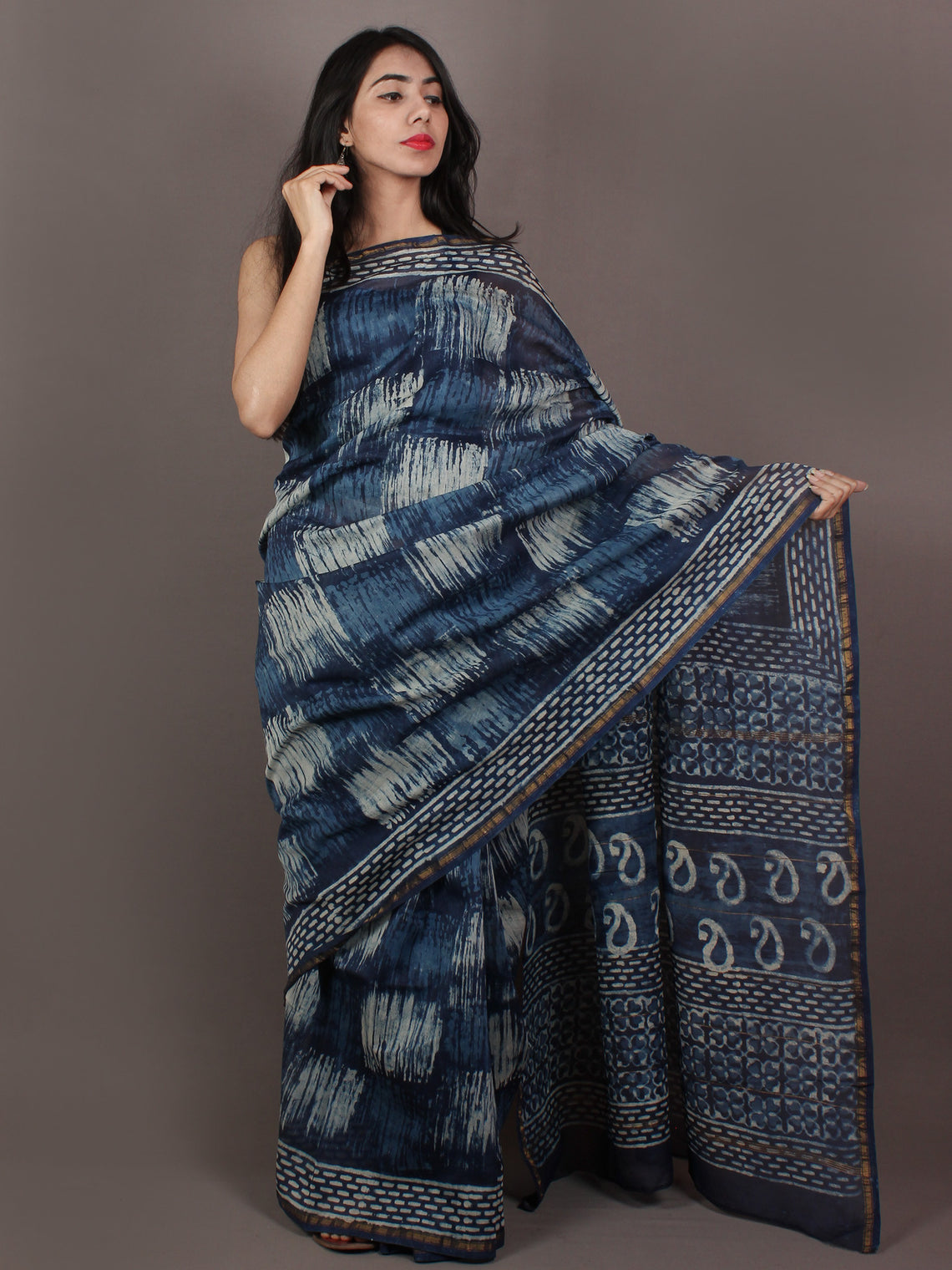Indigo Ivory Blue Hand Block Printed in Natural Colors Chanderi Saree - S031701090