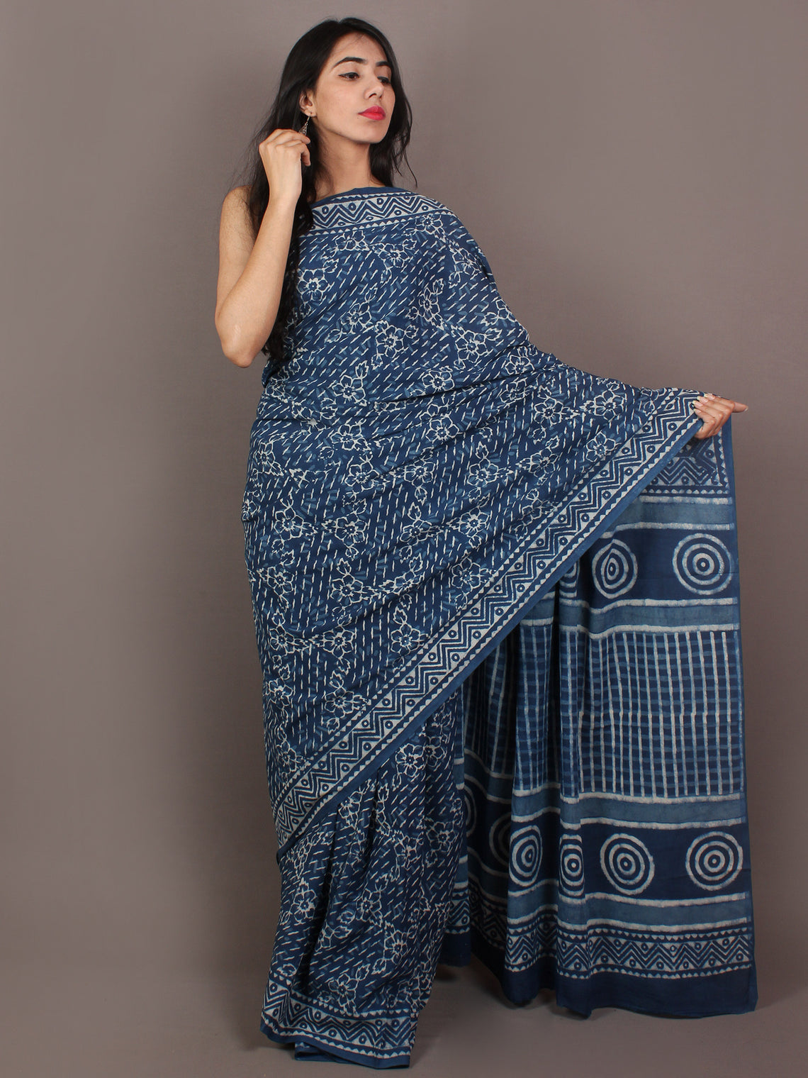 Indigo Ivory Hand Block Printed in Natural Colors Cotton Mul Saree - S031701096