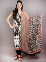 Red Beige Black Hand Block Printed Cotton Suit-Salwar Fabric With Chiffon Dupatta - S1628051