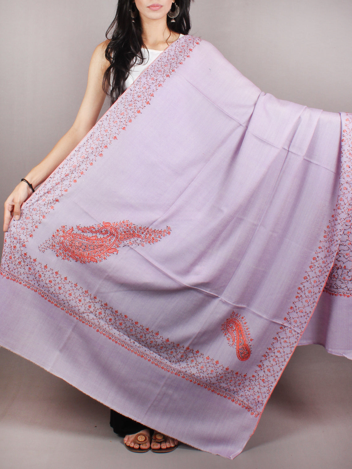 Light Purple Orange Brown Pure Wool Jalidour Koundar Cashmere Shawl From Kashmir - S200401
