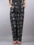 Black Hand Block Printed Elasticated Waist Trousers- T0317011