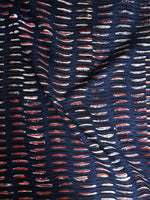 Indigo Black Red Hand Block Printed Cotton Cambric Fabric Per Meter - F0916400