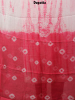 White Pink Hand Shibori Dyed Cotton Suit-Salwar Fabric With Chiffon Dupatta - S1628110