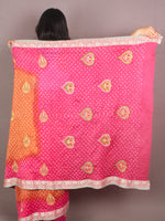Apricot Pink Ivory Hand Tie & Dye Bandhej Gadwal Silk Saree With Embroidery - S031701102
