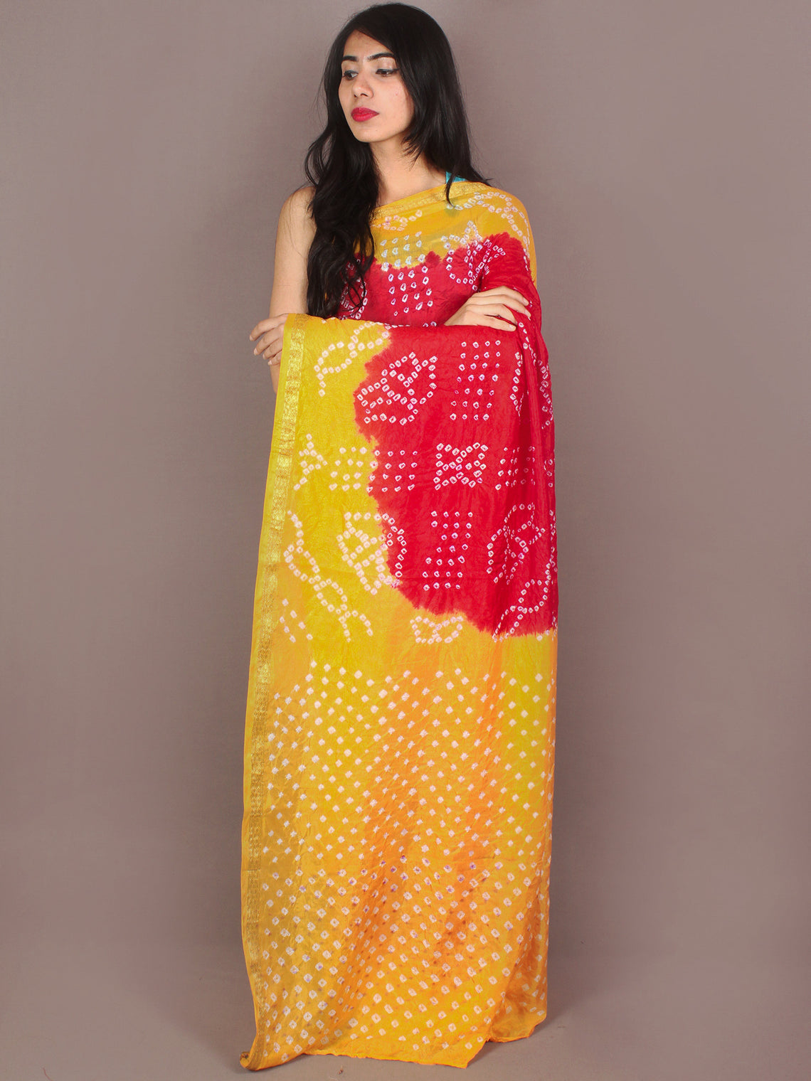 Yellow Red Ivory Hand Tie & Dye Bandhej Art Silk Saree - S031701106