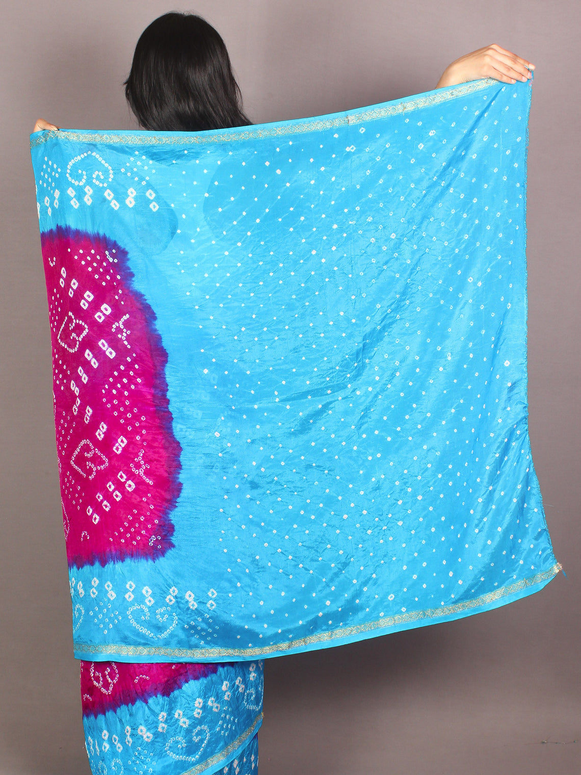 Purple Sky Blue Ivory Hand Tie & Dye Bandhej Art Silk Saree - S031701108