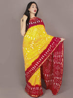 Red Yellow Ivory Hand Tie & Dye Bandhej Art Silk Saree - S031701111