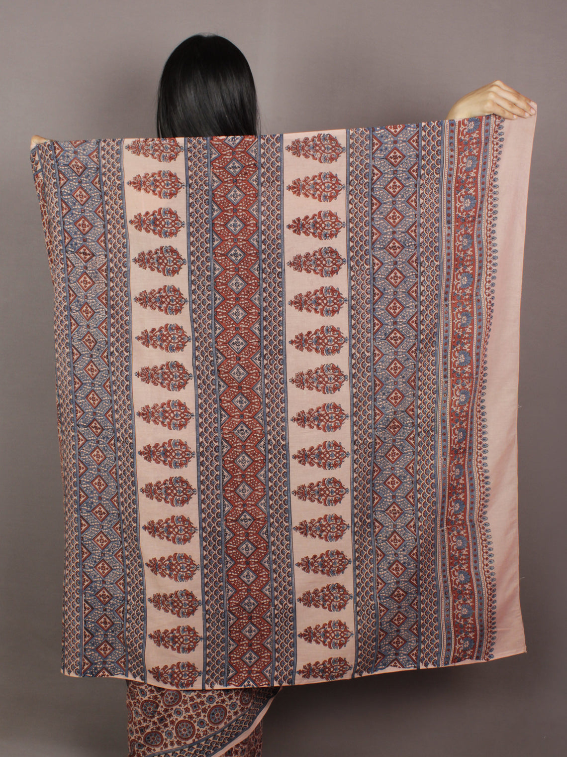 Ivory Maroon Steel Blue Mughal Nakashi Ajrakh Hand Block Printed in Natural Vegetable Colors Cotton Mul Saree - S031701139