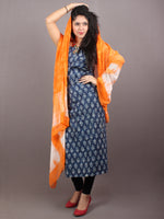 Indigo Beige Hand Block Printed Cotton Suit-Salwar Fabric With Chiffon Dupatta - S1628114