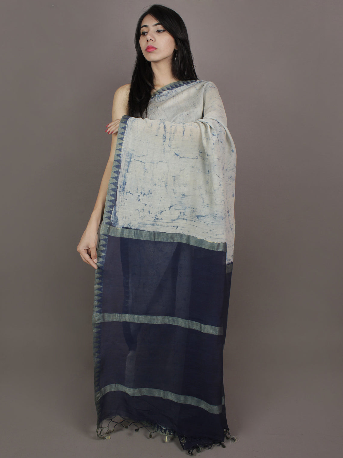 Indigo Ivory Hand Painted in Natural Colors Chanderi Saree With Ghicha Border - S031701147