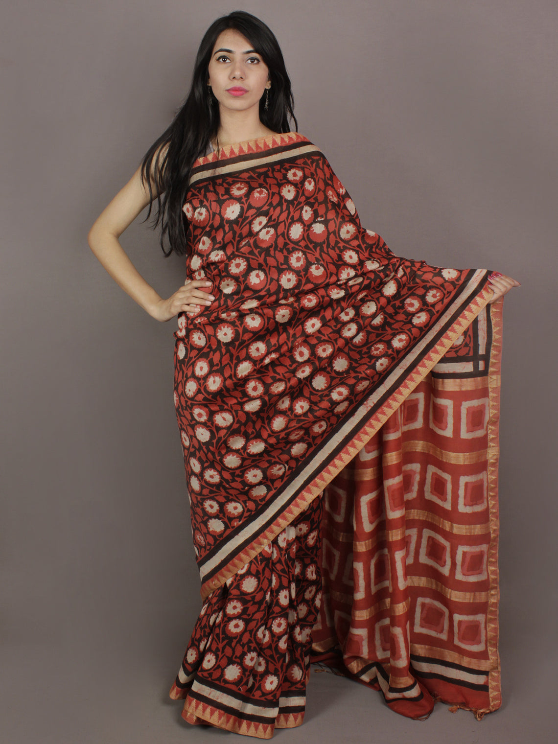 Red Black Ivory Hand Block Printed Kalamkari Chanderi Silk Saree With Ghicha Border - S031701153