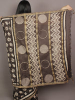 Brown Black Ivory Hand Block Printed Kalamkari Chanderi Silk Saree With Ghicha Border - S031701155