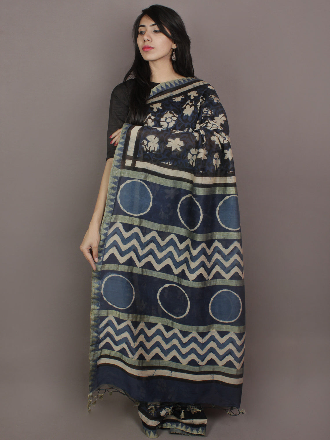 Indigo Black Ivory Hand Block Printed Kalamkari Chanderi Silk Saree With Ghicha Border - S031701163