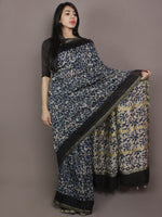 Indigo Black Ivory Hand Block Printed Kalamkari Chanderi Silk Saree With Ghicha Border - S031701165