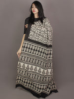 Ivory Black Hand Block Printed in Natural Colors Cotton Mul Saree - S031701169
