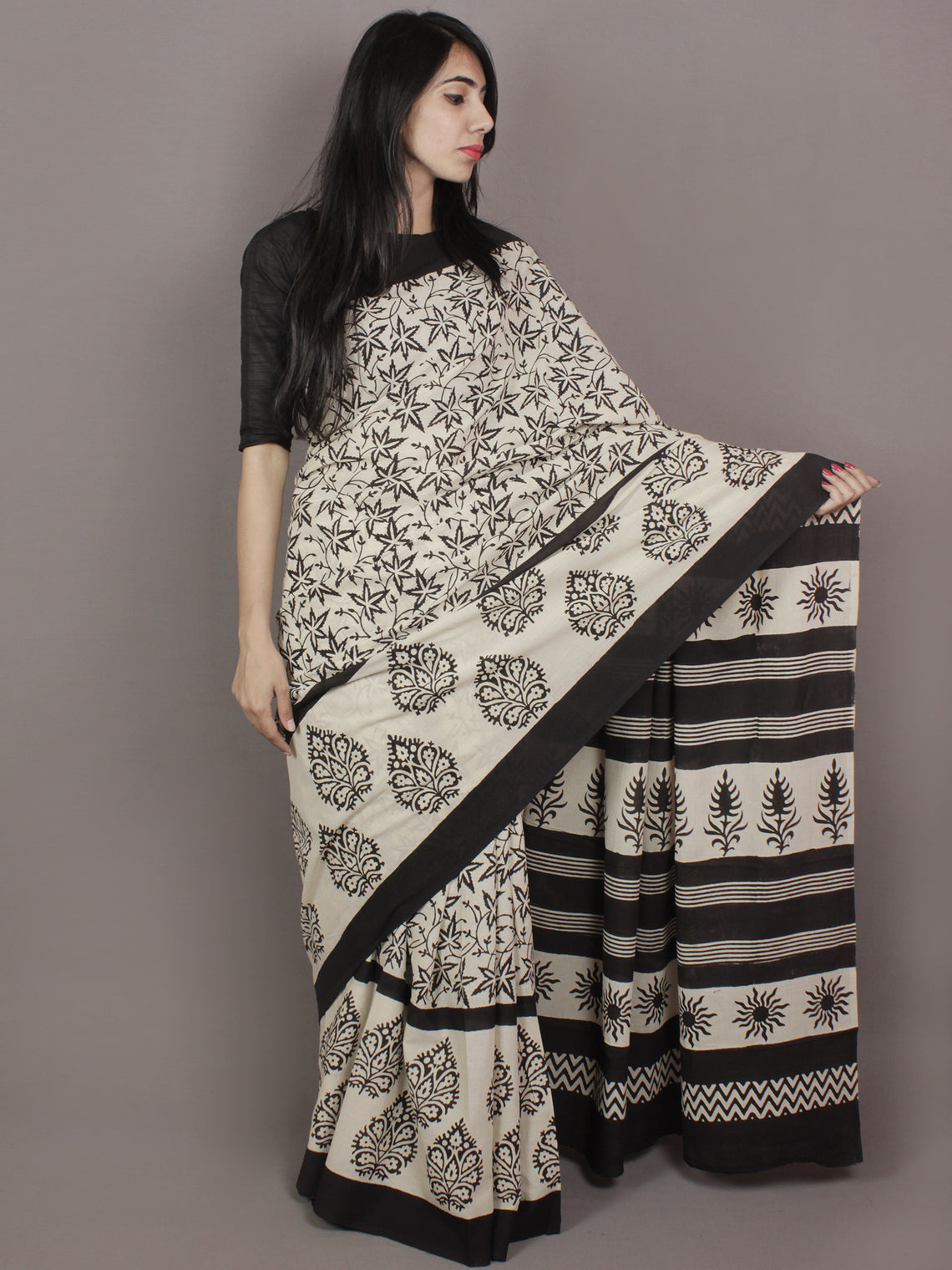 Ivory Black Hand Block Printed in Natural Colors Cotton Mul Saree - S031701170