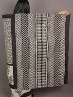 Ivory Black Hand Block Printed in Natural Colors Cotton Mul Saree - S031701172