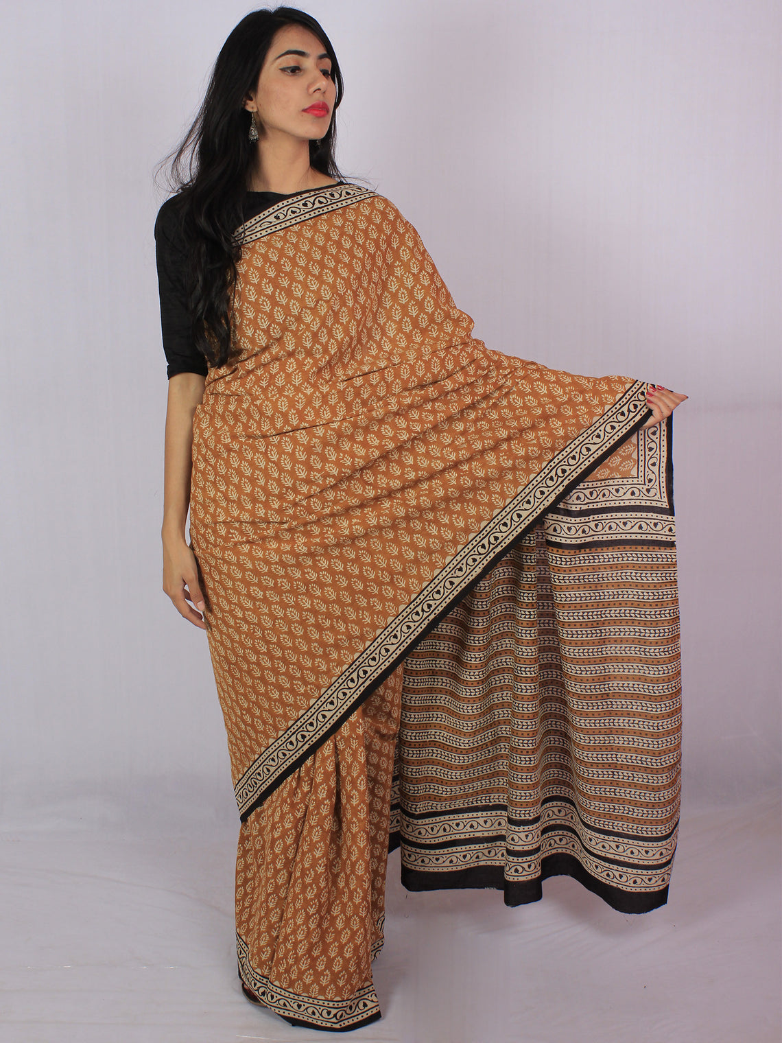 Mustard Yellow Ivory Cotton Hand Block Printed Saree in Natural Colors - S031701173