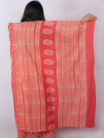 Scarlet Red Pink Beige Hand Block Printed Cotton Saree in Natural Colors - S03170809