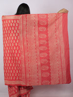 Scarlet Red Pink Beige Hand Block Printed Cotton Saree in Natural Colors - S03170814