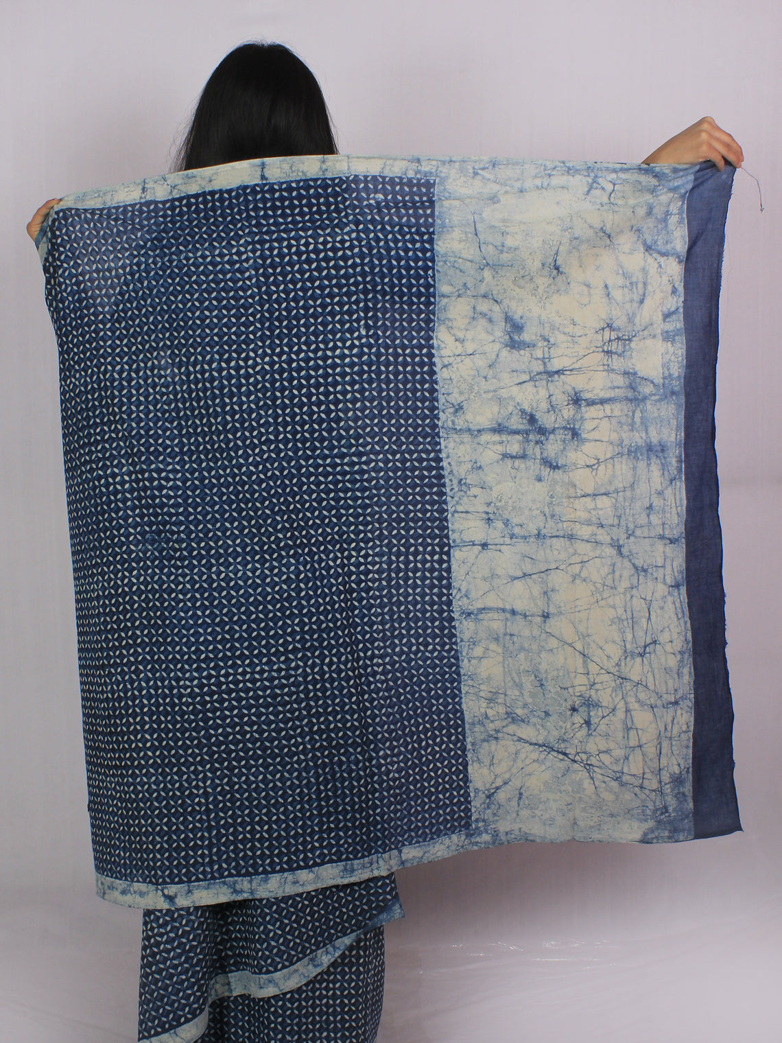 Indigo Ivory Cotton Hand Block Printed & Hand Painted Saree in Natural Colors - S031701182