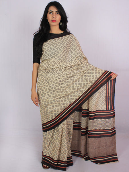 Beige Dark Brown Rust Orange Cotton Hand Block Printed & Hand Painted Saree in Natural Colors - S031701184