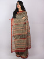Beige Black Maroon Hand Block Printed in Natural Colors Chanderi Saree - S03170808