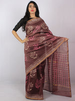 Sepia Brown Pink White Hand Block Printed in Natural Colors Chanderi Saree - S03170806