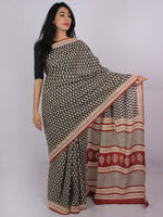 Black Beige Maroon Cotton Hand Block Printed & Hand Painted Saree in Natural Colors - S031701187