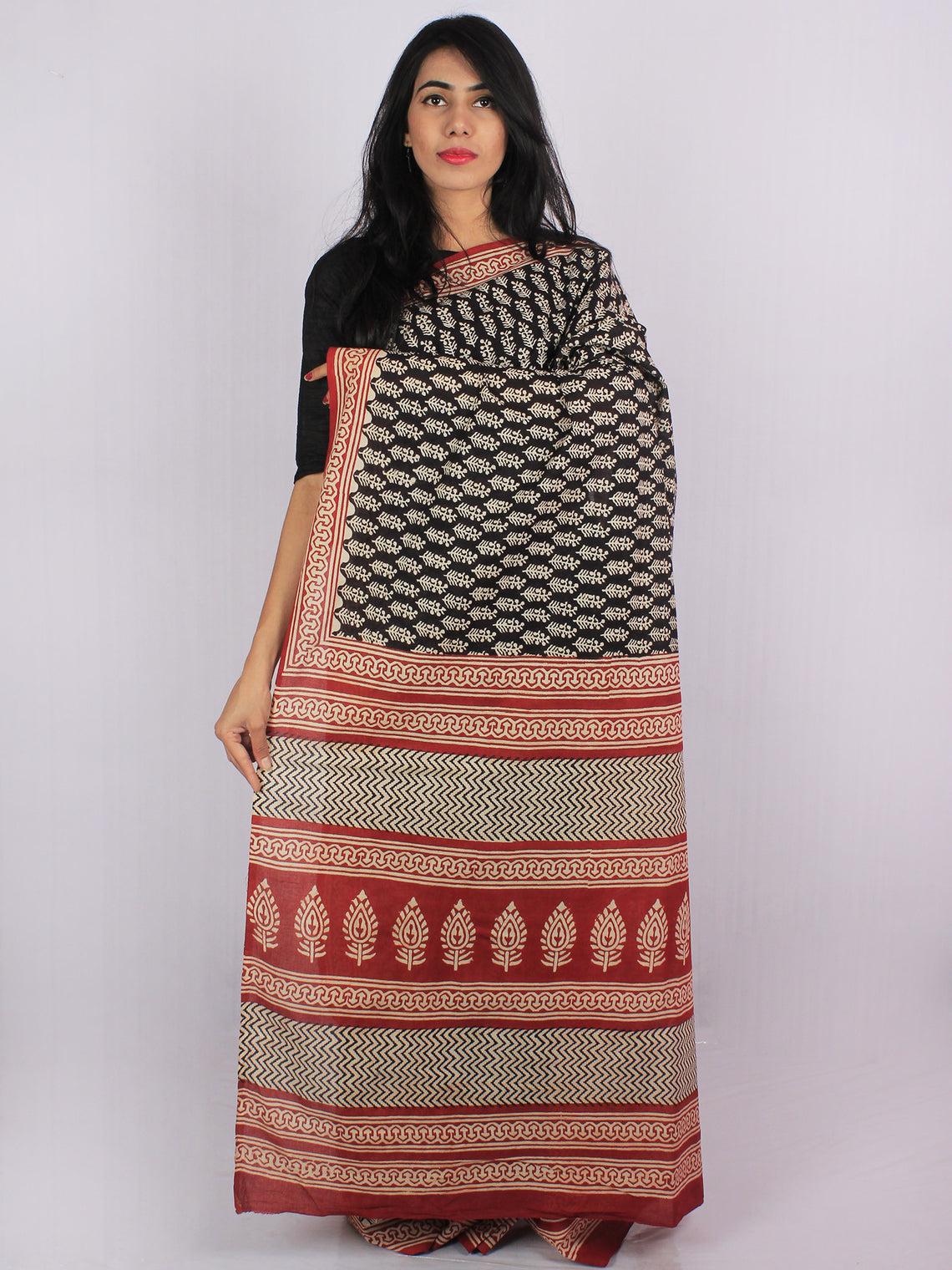 Black Rust Beige Cotton Hand Block Printed & Hand Painted Saree in Natural Colors - S031701189
