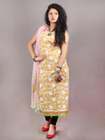 Yellow White Green Pink Hand Block Printed Cotton Suit-Salwar Fabric With Chiffon Dupatta - S1628119
