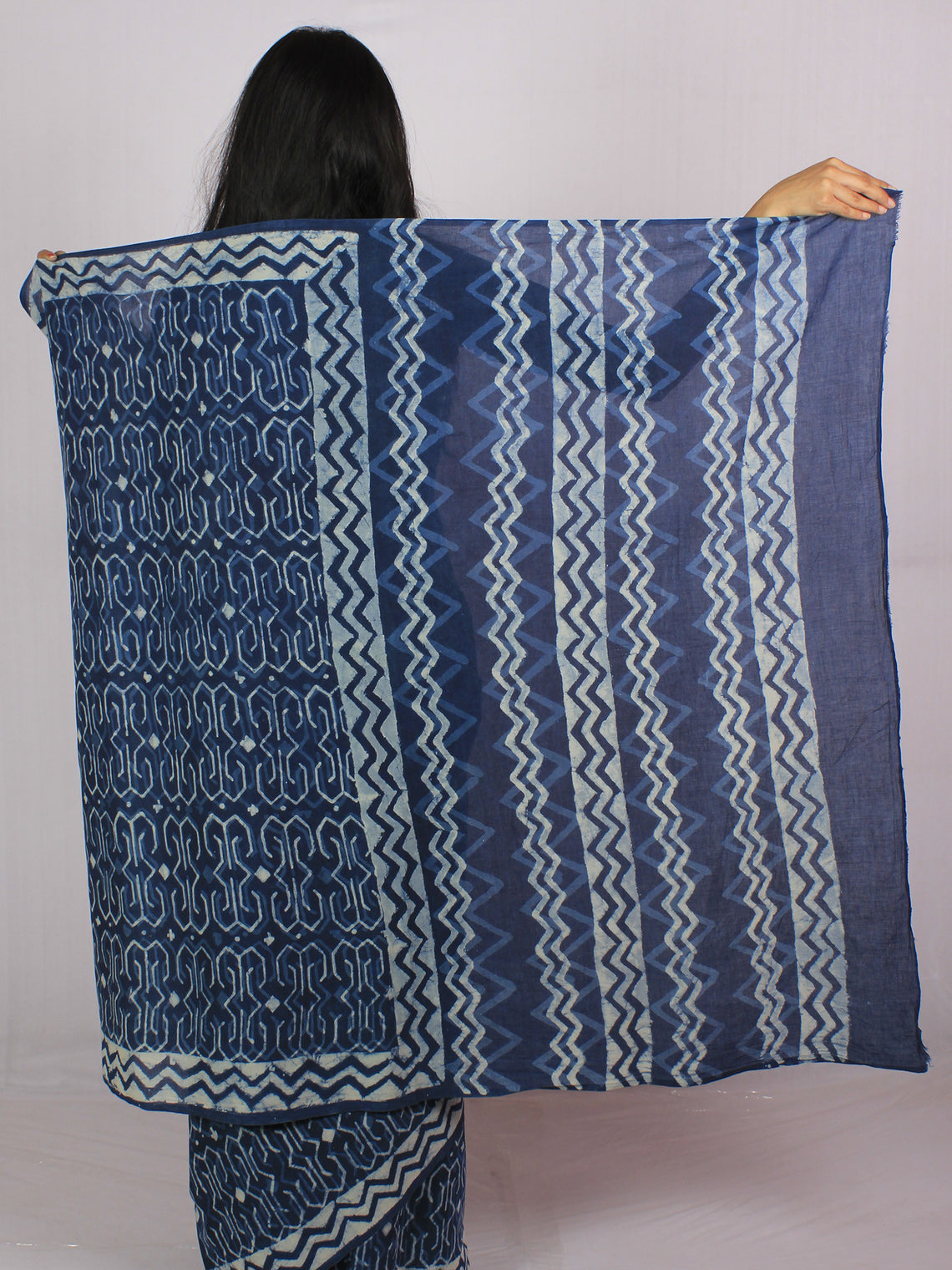 Indigo Ivory Blue Cotton Hand Block Printed Saree in Natural Colors - S031701190