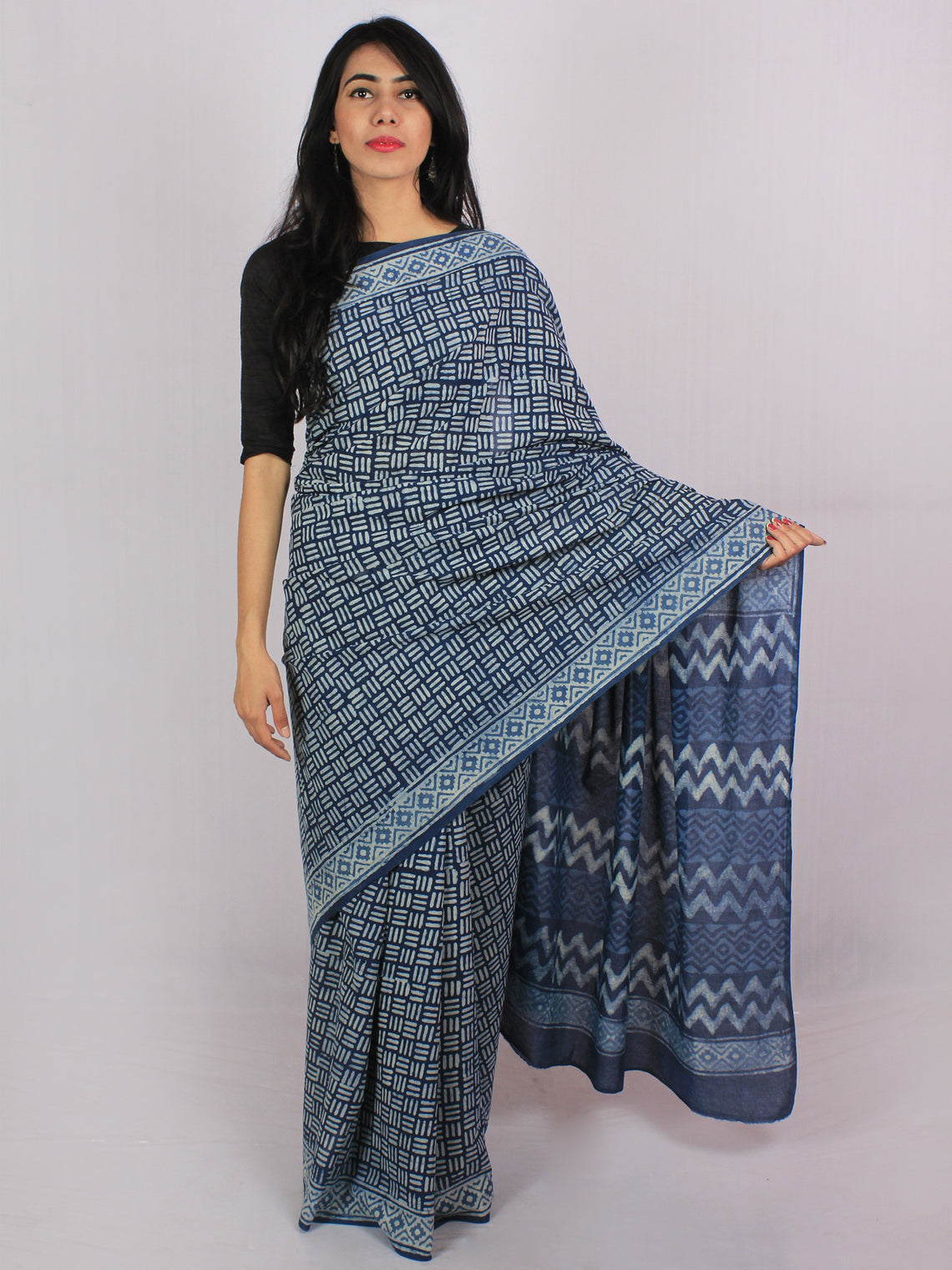 Indigo Ivory Cotton Hand Block Printed Saree in Natural Colors - S031701191