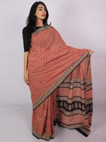 Rust Red Beige Black Cotton Hand Block Printet Saree in Natural Colors - S031701194
