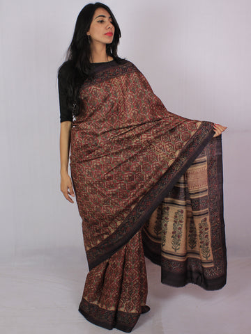 Tussar Handloom Silk Hand Block Printed Saree in Maroon Plum Green - S031701195