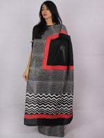 Black White Red Hand Block Printed in Cotton Mul Saree - S031701199