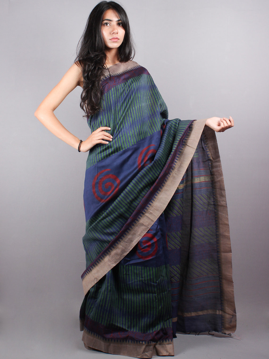 Multi Color Chanderi Hand Block Printed Saree With Geecha Border- S0317012