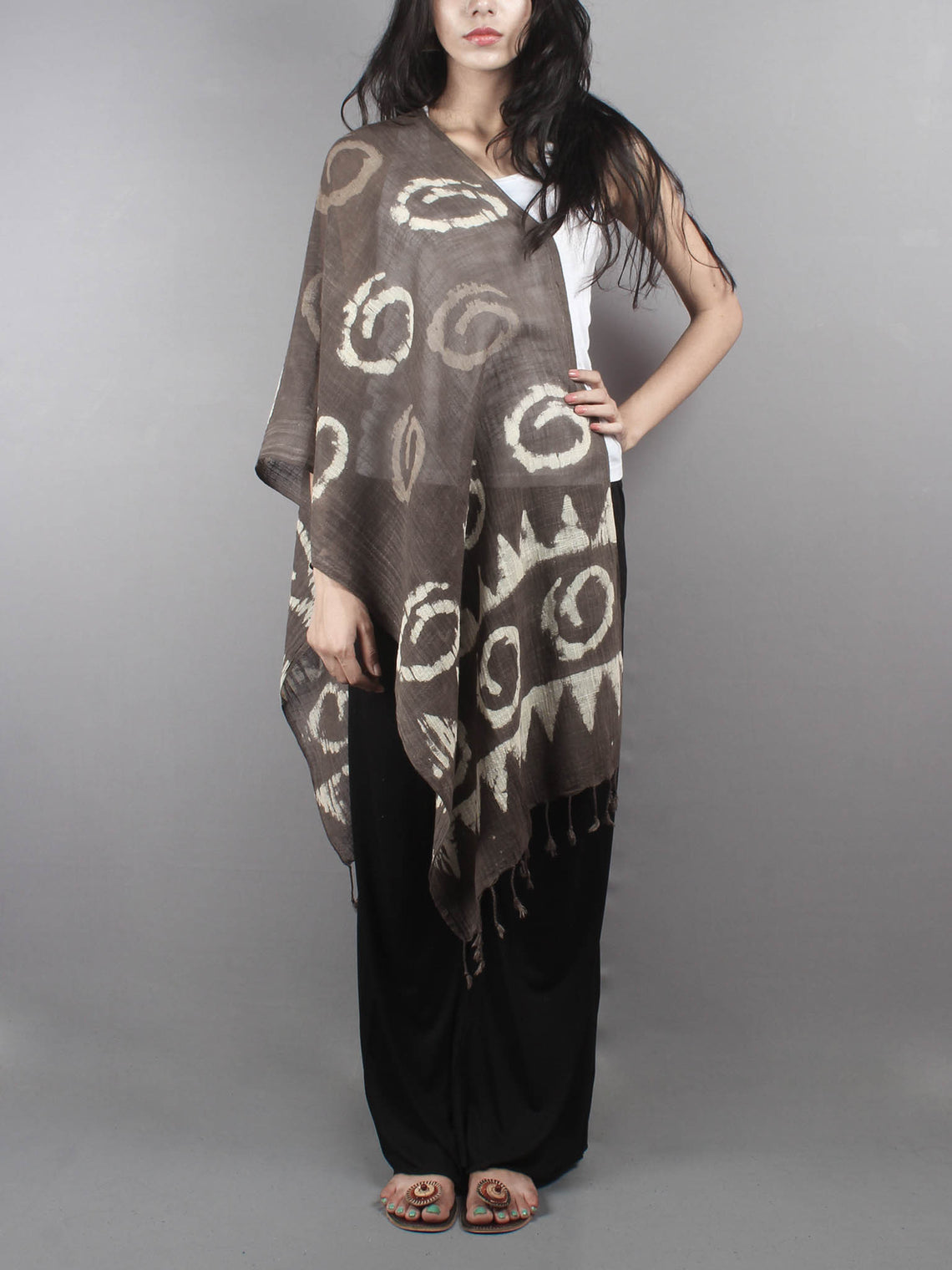 Brown Bagru Hand Printed Handloom Cotton Stole- S6317012