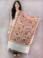 White Aari Embroidery Chinar Jal Pure Wool Stole from Kashmir - S6317084