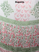 White Green Pink Hand Block Printed Cotton Suit-Salwar Fabric With Chiffon Dupatta - S1628052