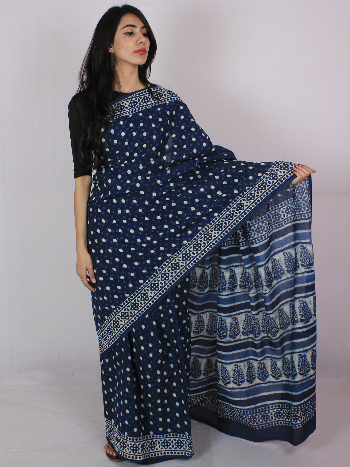 Indigo Ivory Hand Block Printed in Natural Colors Cotton Mul Saree - S031701202