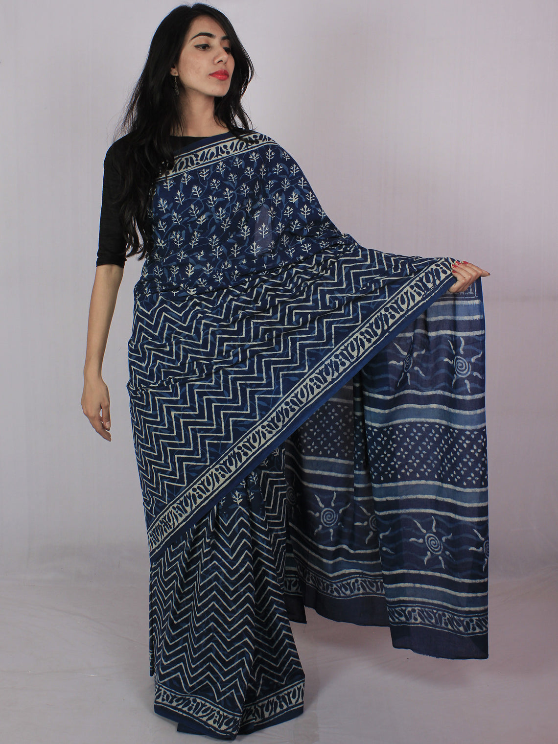 Indigo Ivory Hand Block Printed in Natural Colors Cotton Mul Saree - S031701203