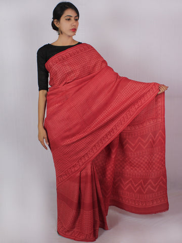 Tussar Handloom Silk Hand Block Printed Saree in Light Vermilion Red - S031701208